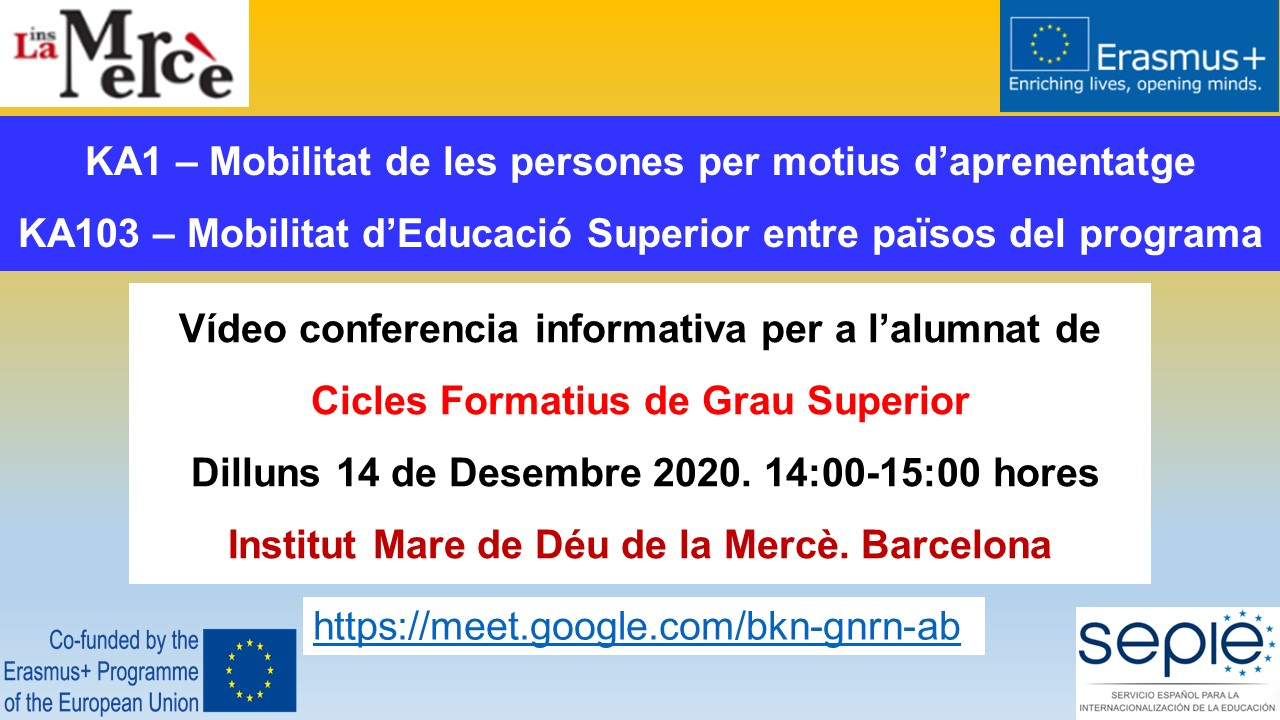 Erasmus+. Sessió Informativa GS.